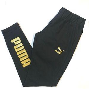 Puma Glam Crop Glitter Legging Black Gold